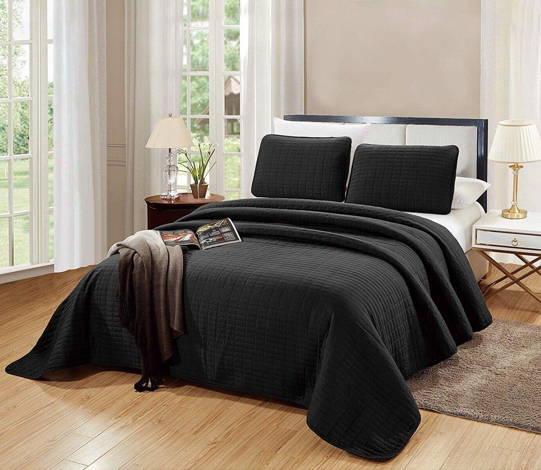 QUEEN / FULL Size Catena Quilt Set Solid Black Microfiber Co