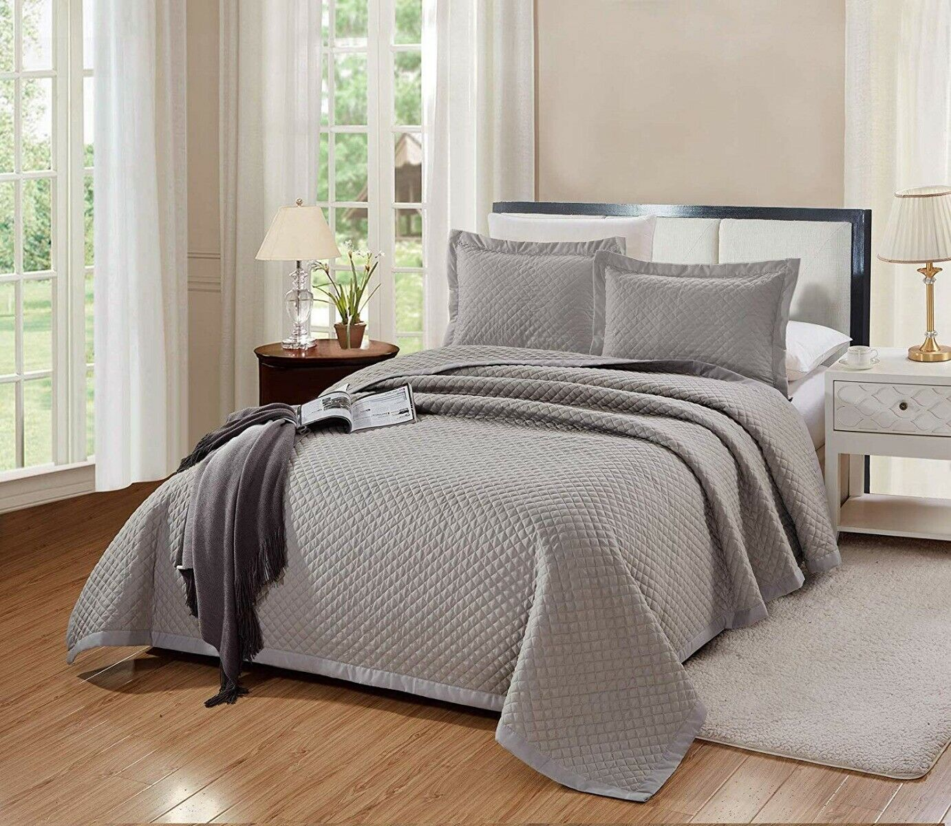 3 PC King Size Naples Quilt Solid Grey/Gray Bedspread Microf