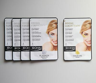5 x IROHA NATURE Foil Tissue Patches for Eyes, 4 Extra Glow & 1 Extra Firmness.