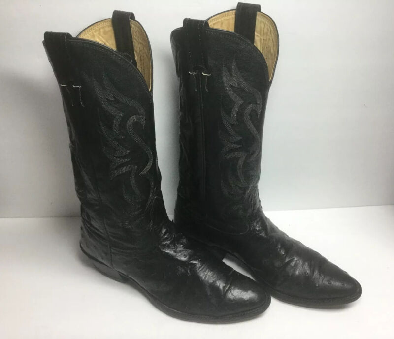 Nocona, Black, Full, Quill, Ostrich, Leather, Cowboy, Western, Boots, Mens, 9.5D