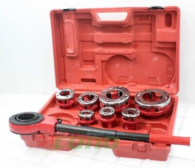 7 Size Pipe Threader Threading 38 To 2 Die Dies Set W Handle Ratchet