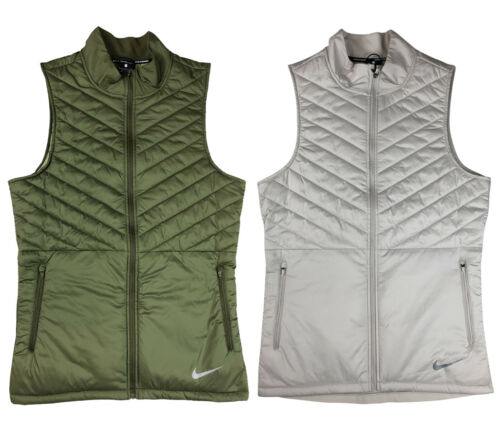 Nike Mens AeroLayer Thermore Insulated Running Vest Green/White Repel New AH0546