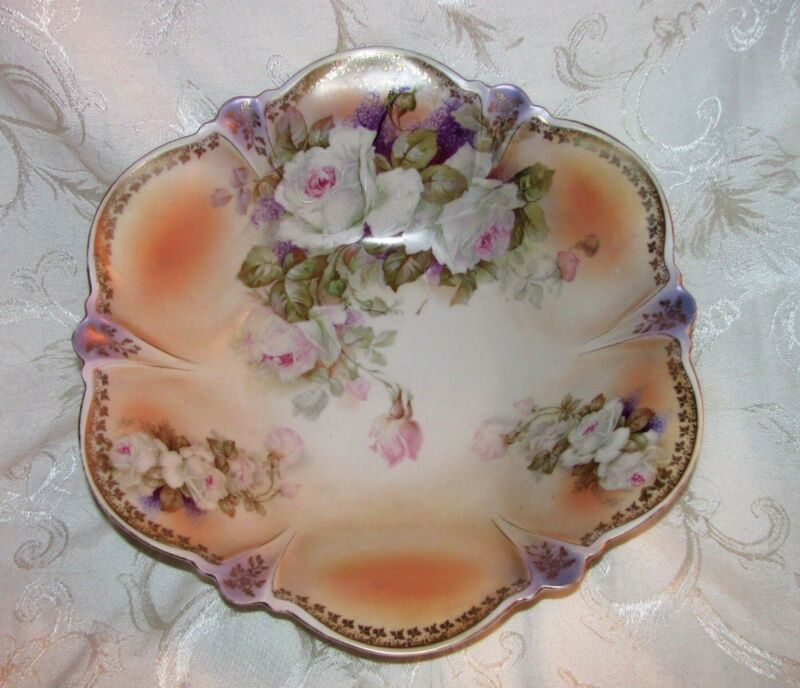 Antique German Hand Painted Porcelain Fruit Bowl Circa 1920