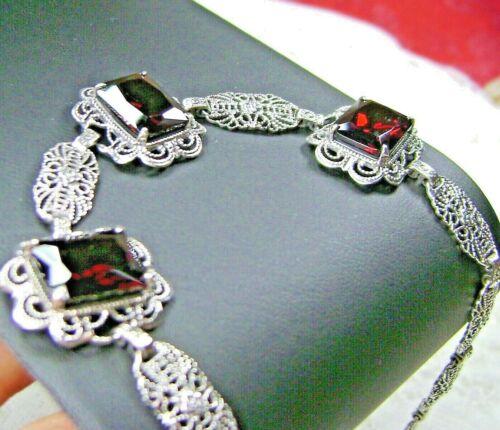 Red Garnet CZ Art Deco Sterling Silver Filigree Link Bracelet (Custom-Made)*