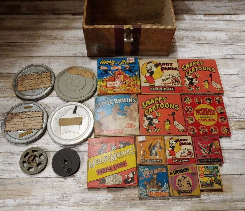 Lot of 17 vintage super 8 cartoons with reels and case
