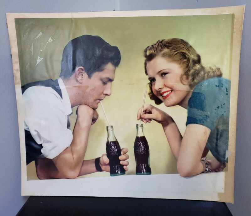 Original 1940s Coca Cola Photograph Advertising Teenagers Color Vintage Coke
