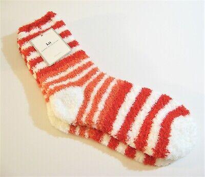 Karen Neuburger Ladies Slipper Socks Stripe Watermelon Red Coral White - NEW