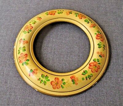 """VINTAGE HAND PAINTED FLOWERS & LEAVES PLASTER ROUNDED PICTURE FRAME 6 1/2"""""""