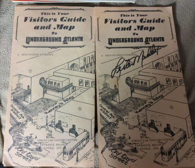 PAIR OF VISITORS GUIDE To The Underground ATLANTA -ONE SIGNED BY LESTER MADDOX