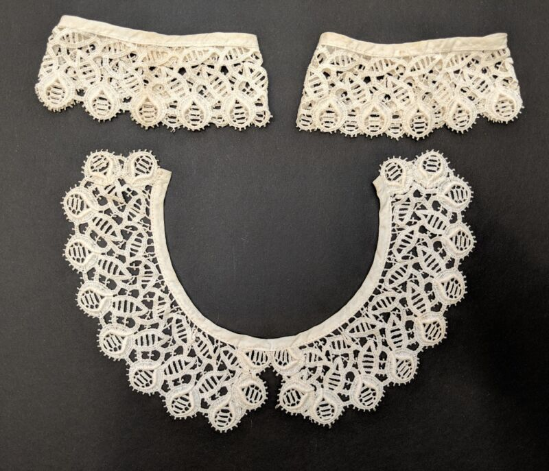 "Antique Edwardian Schiffli ""Needle Lace"" Lace Collar 11.25"" & Cuffs 9"" ivory#15"