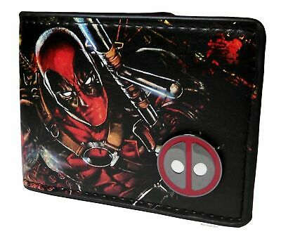 Deadpool Themed Logo With Metal Badge Pin Bi-Fold Wallet