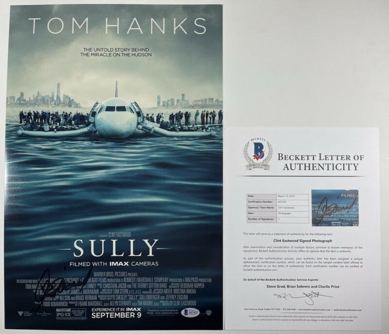 CLINT EASTWOOD SIGNED SULLY 12x18 PHOTO MOVIE POSTER BECKETT BAS LOA #A67429