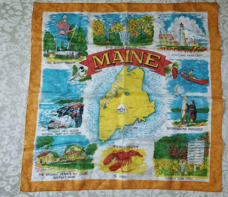 "Vintage 60's Maine State Map Souvenir Scarf 26"" square"