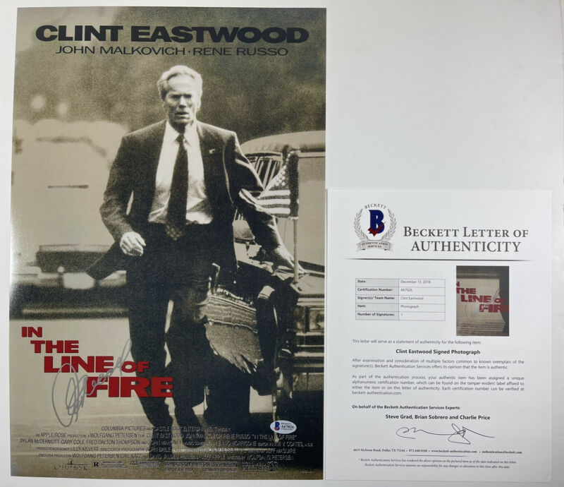 CLINT EASTWOOD SIGNED IN THE LINE OF FIRE 12x18 PHOTO POSTER BAS LOA #A67026