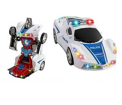 Car Toys For 2 Year Old (Toys for Boys Age 3 4 5 6 7 8 9 Year Old Kids Police Car Transformer 2 in1)