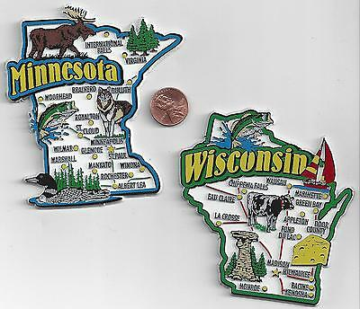 WISCONSIN and MINNESOTA JUMBO  STATE MAP  MAGNET 7 COLOR   NEW USA  2 MAGNETS