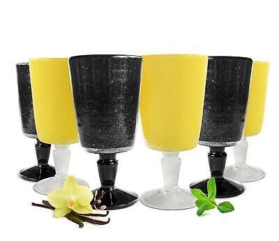 6 Weingläser Set 300ml im Schwarz/Gelb Rotweingläser Weißweingläser Weinkelch