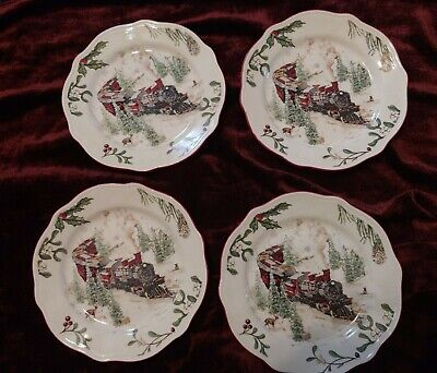 "BHG Heritage Train Salad Plates Christmas 8 3/4"" Stoneware Set of 4 Better Homes"
