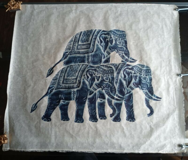 Thai Temple Rubbing STONE  Elephants  Art On Rice Paper Vintage