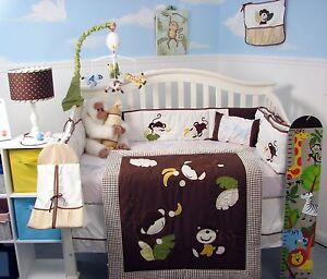 SoHo Monkey Business Baby Crib Nursery Bedding 13 pcs Set included Diaper Bag