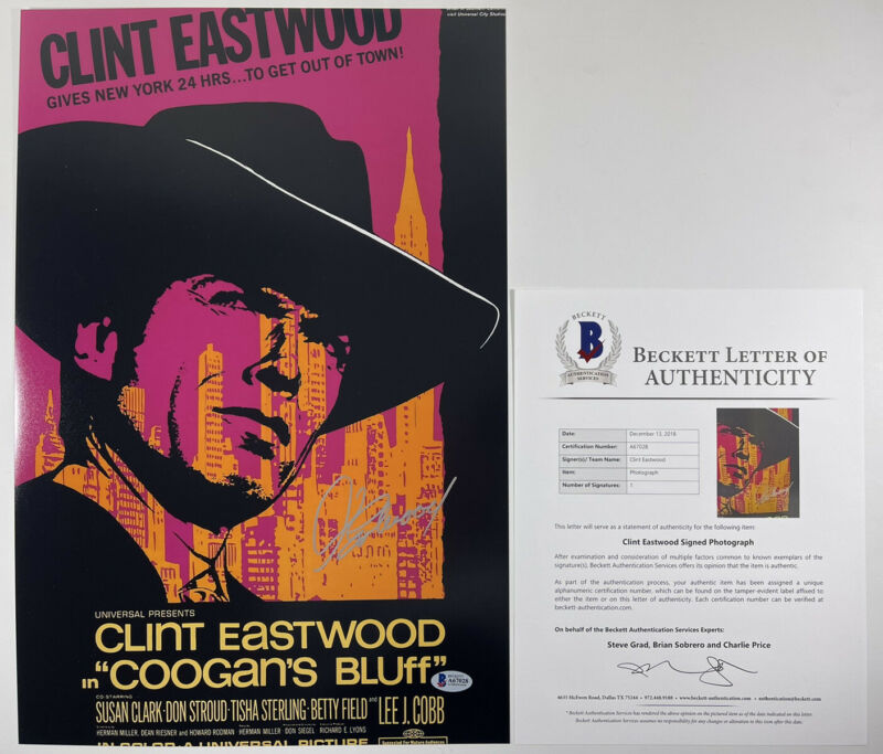CLINT EASTWOOD SIGNED COOGAN'S BLUFF 12x18 PHOTO MOVIE POSTER BAS LOA #A67028