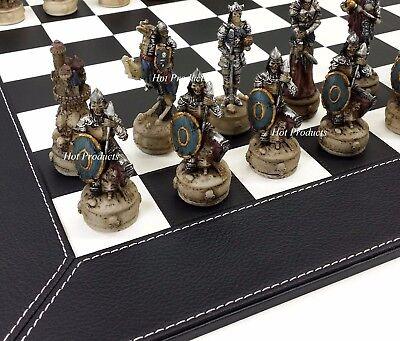SKELETON SLAYER GOTHIC FANTASY SKULL Chess Set W/ BLACK FAUX LEATHER BOARD