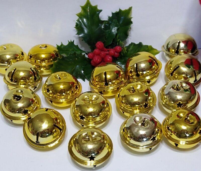 Christmas Jingle Bells Shiny Metal Craft Ornaments lot of 16 Gold cut out stars