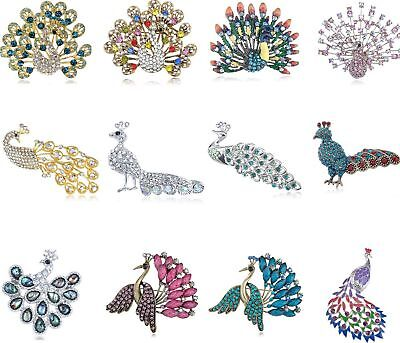 (Fashion Peacock Bird Clear Rhinestone Crystal Large Bird Gold-plated Brooch Pin )