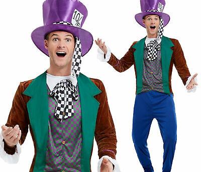 Adult Mens Mad Hatter Costume Alice Tea Party Fairytale Fancy Dress (Mad Hatters Tea Party Kostüme)