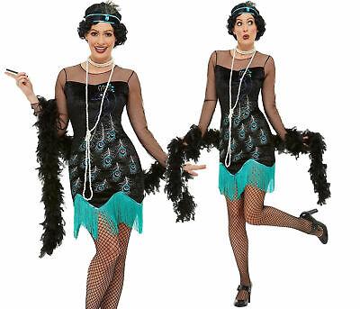 Damen 1920er Jahre Pfau Flapper Kostüm Damen Charleston Erwachsene Kostüm Neu