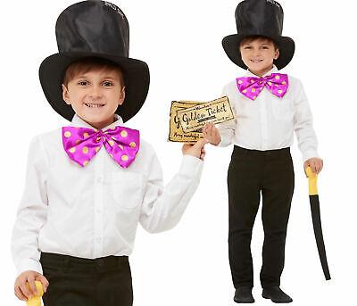 Roald Dahl Willy Wonka Satz Welttag des Buches Kinder Kostüm Outfit Gold Ticket ()