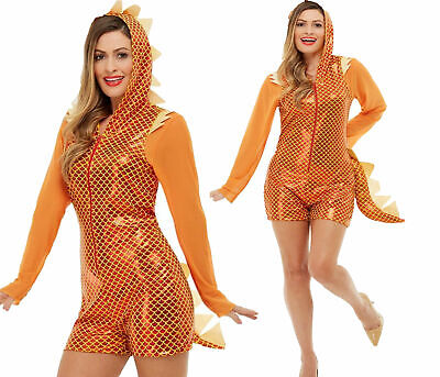 Dragon Costume Mythical Creature Fancy Dress Outfit TV Film Dragon Orange