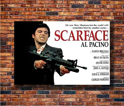 T1964 Poster SCARFACE Movie Al Pacino Gangster Drugs Brian De Palma Art Print