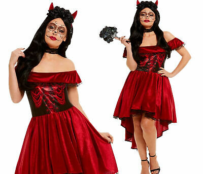 Adults Devil Costume Ladies Deluxe Halloween Day Of - Dead Devil Kostüm