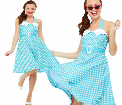 50er Jahre Pin Up Damenkostüm Gepunktet Swing Kleid Kostüm Outfit UK 8-18