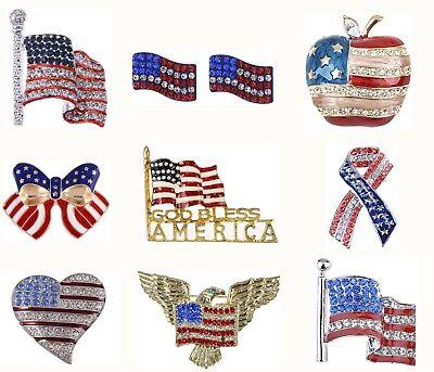 Shiny Crystal Rhines USA Flag Brooch Pin July 4th Patriotic American Jewelry](Patriotic Jewelry)