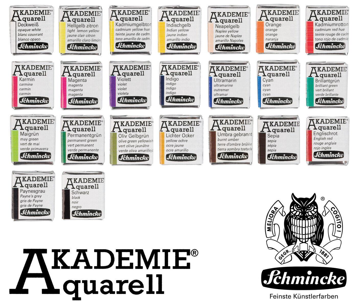 24 Farbtöne Schmincke Akademie® Feine Künstler Aquarellfarbe 1/2 Näpfchen