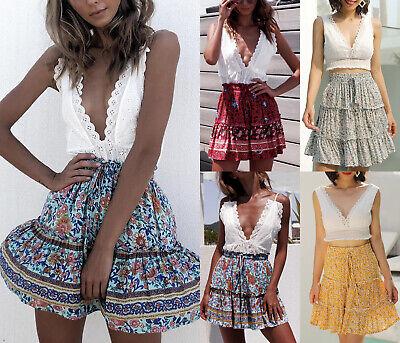 Pleated Chiffon Mini Skirt - BOHO Ladies Floral Mini Skirt Summer Gypsy Beach Pleated Sun Dress Chiffon S-XL