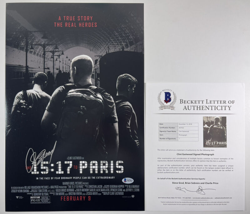 CLINT EASTWOOD SIGNED THE 15:17 TO PARIS 12x18 PHOTO MOVIE POSTER BAS LOA A67022