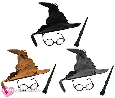 WIZARD HAT GLASSES AND WAND FANCY DRESS COSTUME HALLOWEEN BOOK FILM CHARACTER - Magic Hat And Wand