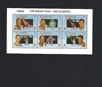 1992 St. Vincent Basketball Dream Team Uncut Postage Stamp Sheet Michael Jordan