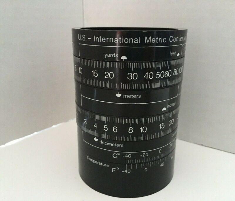 Vintage Slide Rule Universal Circle Metric Converter Pencil Cup Metric Cup