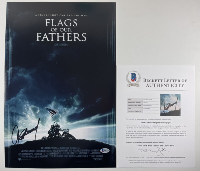 CLINT EASTWOOD SIGNED FLAGS OF OUR FATHERS 12x18 PHOTO POSTER BAS LOA #A67423