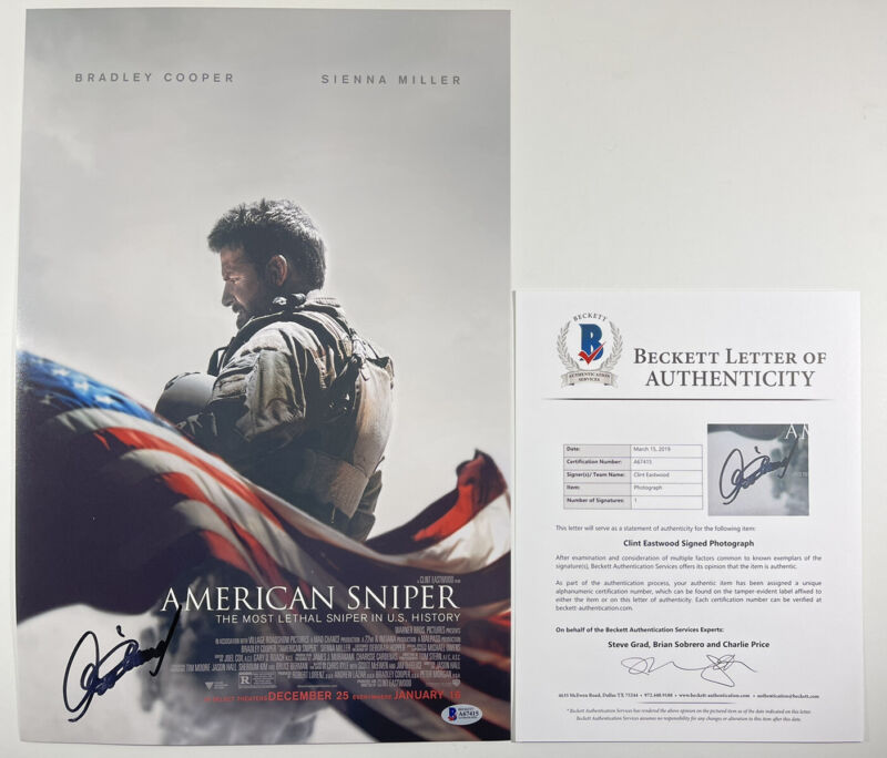 CLINT EASTWOOD SIGNED AMERICAN SNIPER 12x18 PHOTO MOVIE POSTER BAS LOA #A67415