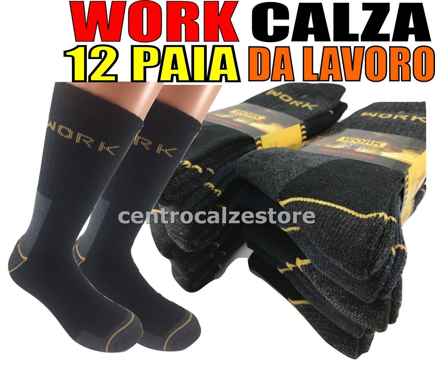 12 PAIA CALZE CALZINI UOMO DA LAVORO RINFORZATI RESISTENTI WORK SOCKS