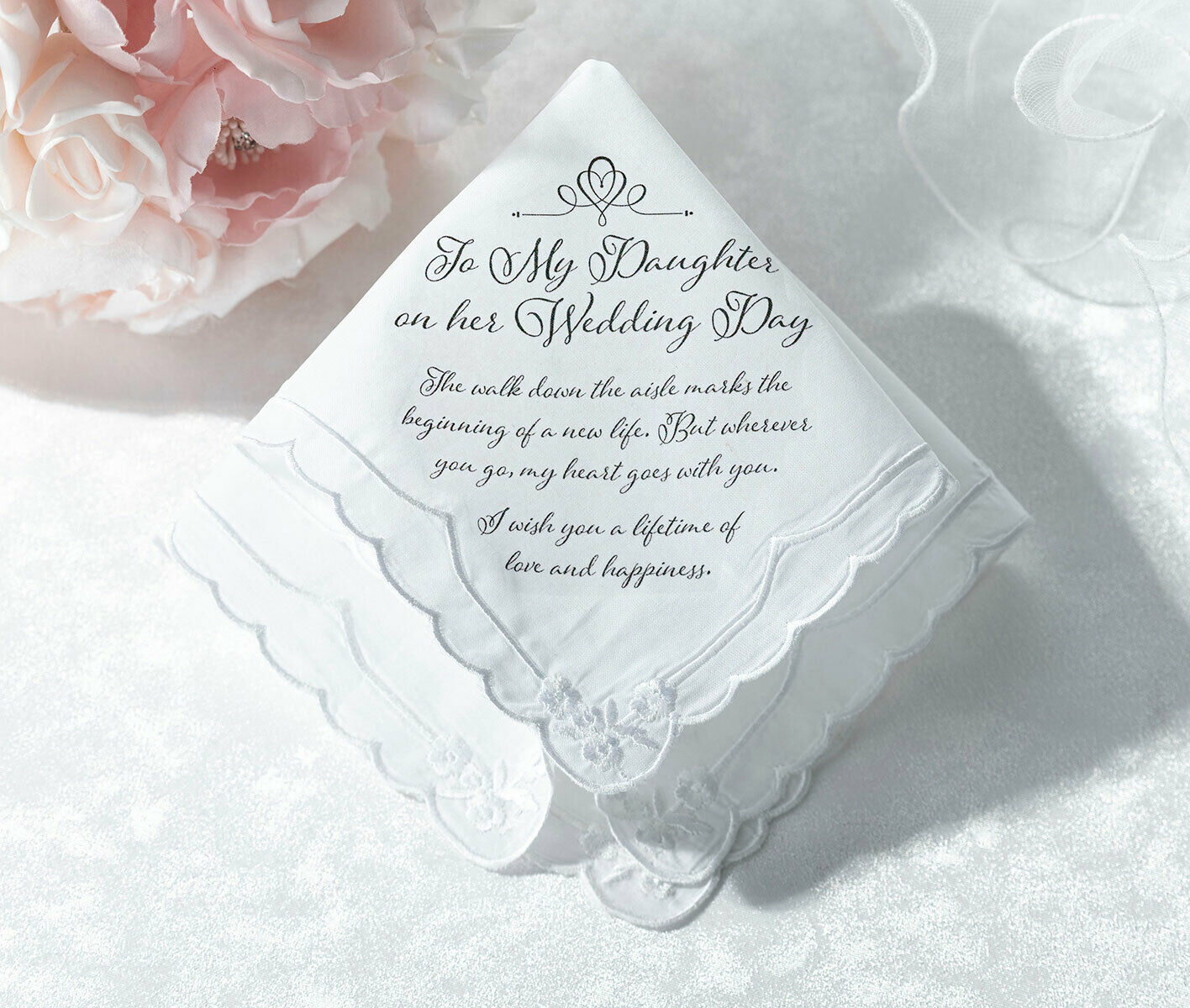 FOR MY DAUGHTER ON HER WEDDING DAY HANKY FROM MUM DAD GIFTS