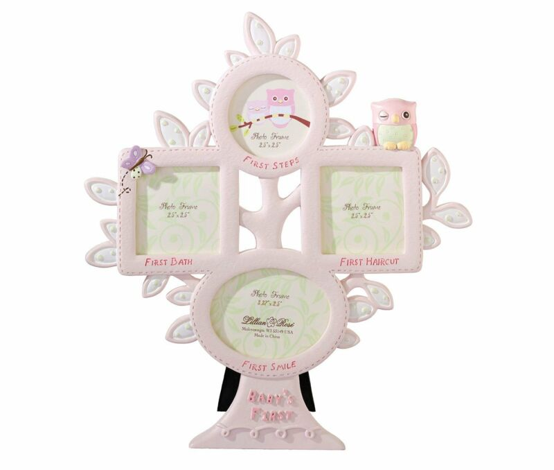 """Lillian Rose Baby Girl 10"""" Pink Owl First Year Photo Picture Frame 24FR211 OP"""