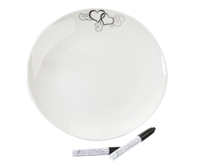 Round Silver Heart Guest Signing Plate with 2 Pen Wedding Guest Book Alternative