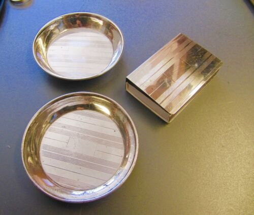 ART DECO STERLING SILVER  VINTAGE 2 ASHTRAYS ROUND DISHES  AND A MATCH BOX COVER