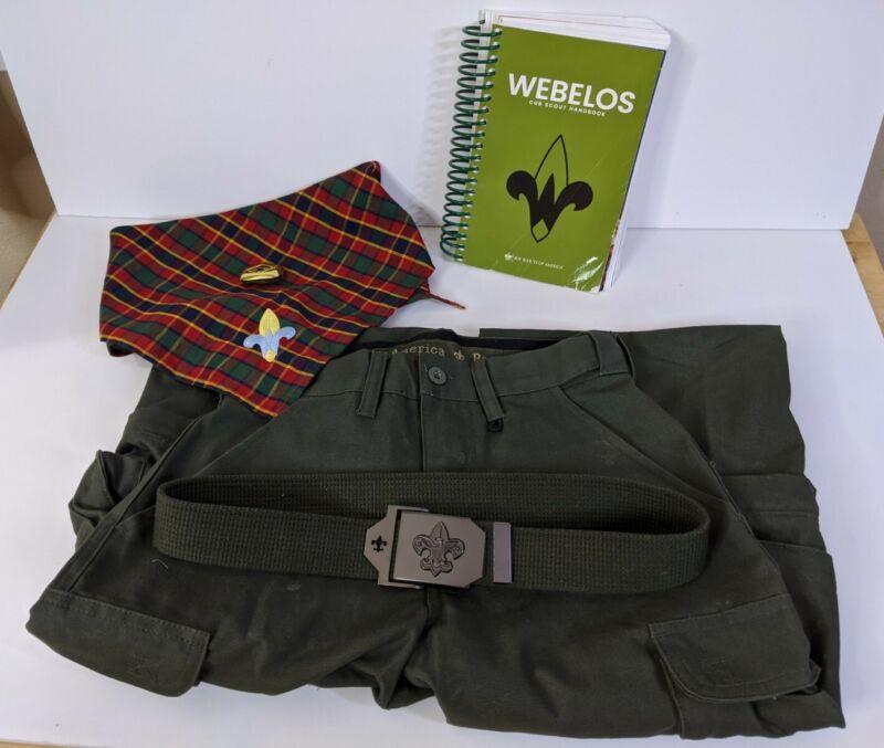 Boy Scouts Webelos Lot: Size 8 pants, official belt, kerchief, slide, & handbook